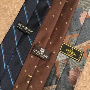 3 Vintage Ties (Fendi, Givenchy, Yves St Laurent)